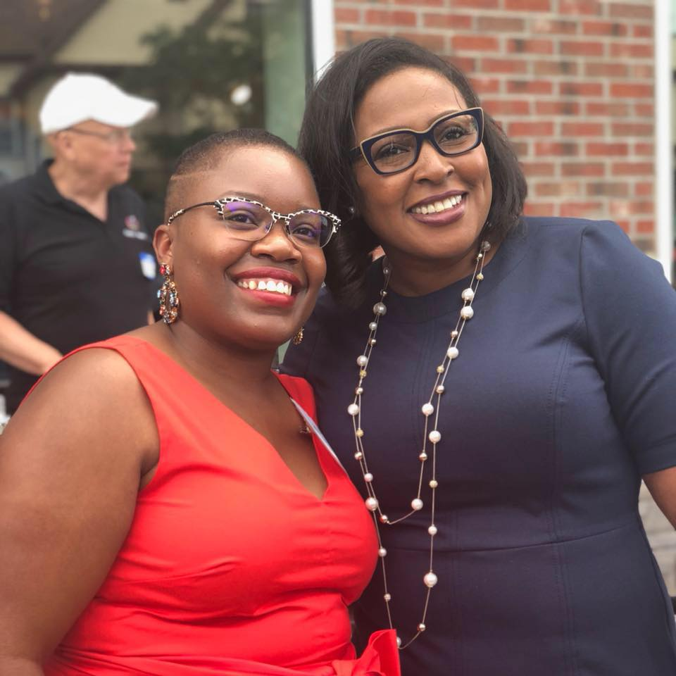 Laquanda Fields (left) with Mayor Lovely Warren at the Warfield Square Ribbon Cutting Celebration.