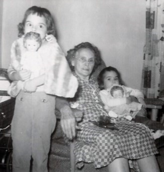 My Grandma Stella with my sister Barb and me, 1950s. West Frankfort, Illinois