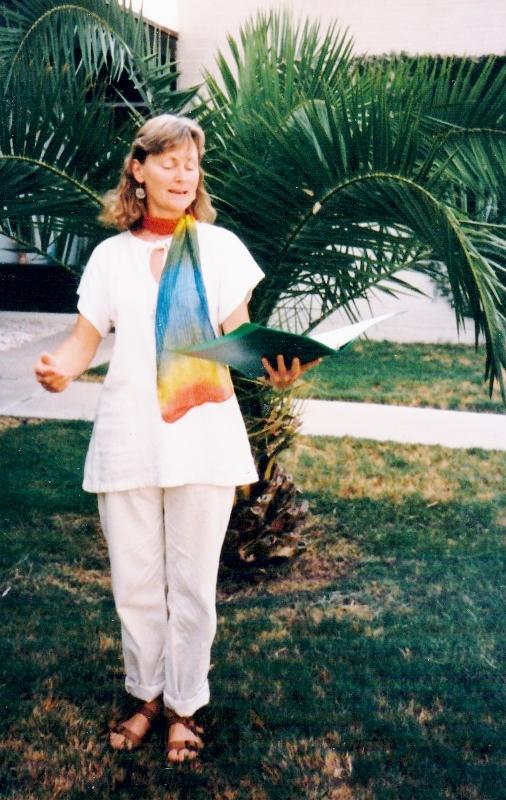 Sally Baker Hahn. She was my poet friend, my vegetarian teacher, a treasure. Arizona, 1989.