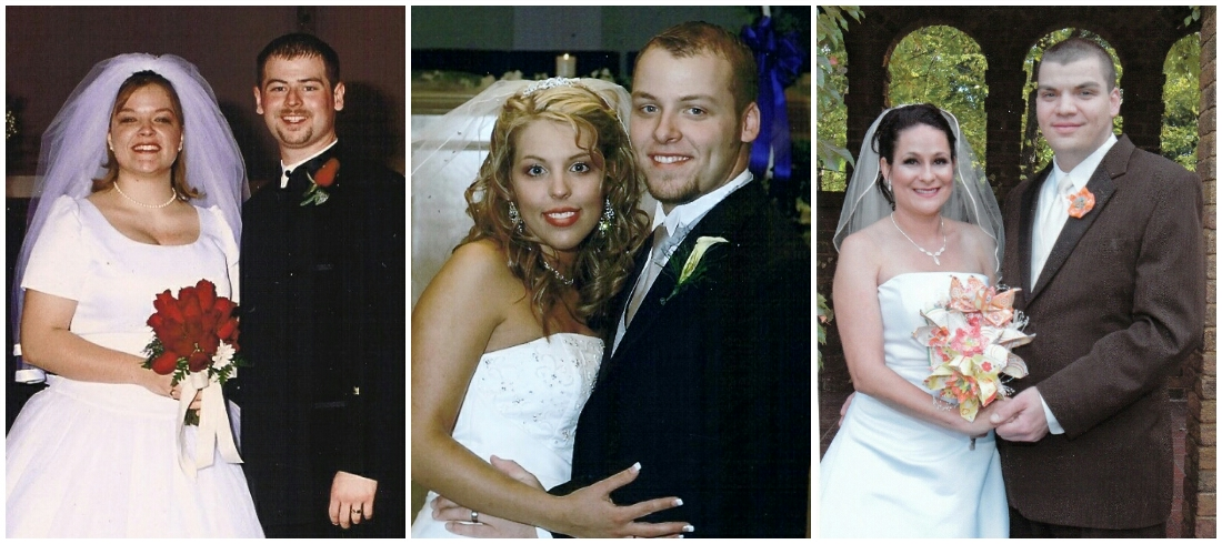 My kids by marriage (L to R): Beth and her husband, Jeremy, 2001; Will and his wife, Alana, 2006; Scott and his wife, Meggan, 2009