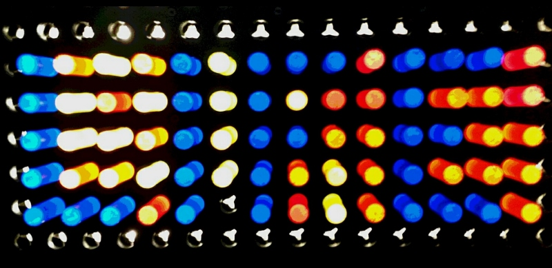 2 ways to look at it: Multicolored lights or blue lights sending a message.
