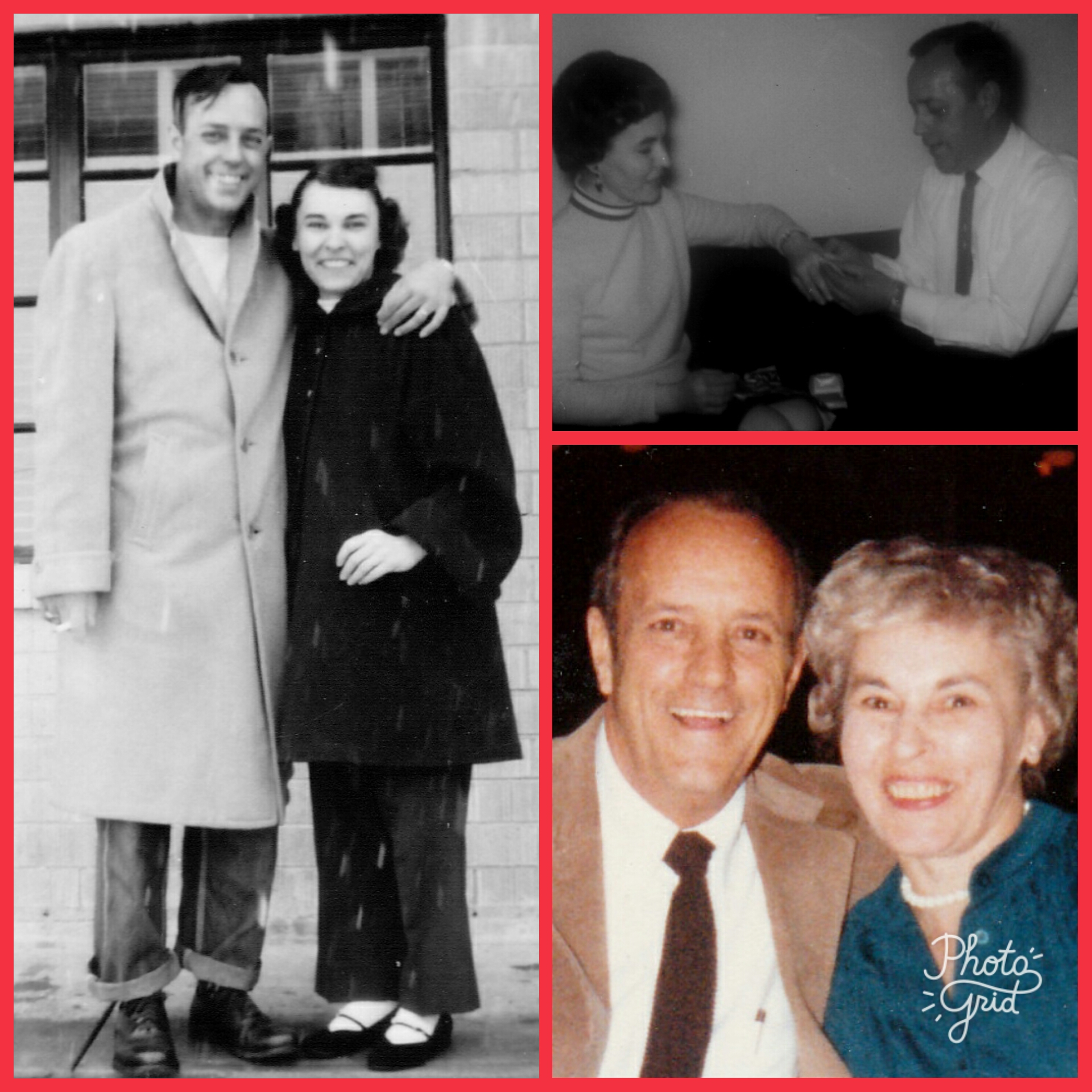 Rex and Helen Wasson, my Dad and Mom: their honeymoon, 1952; the diamond engagement ring my Mom had wanted for so long, 1966; their three brief years of retirement before my Dad passed away.