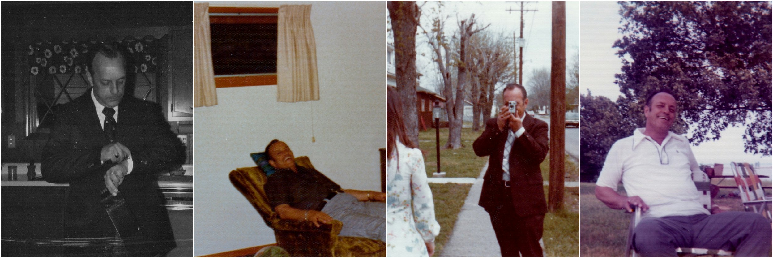 Four things I remember when I think about my Dad: how he was always on time or early; how he enjoyed his first La-Z-Boy recliner; how he documented our lives with his movie camera; how he listened to Cardinal baseball games on the radio while sitting in our backyard.