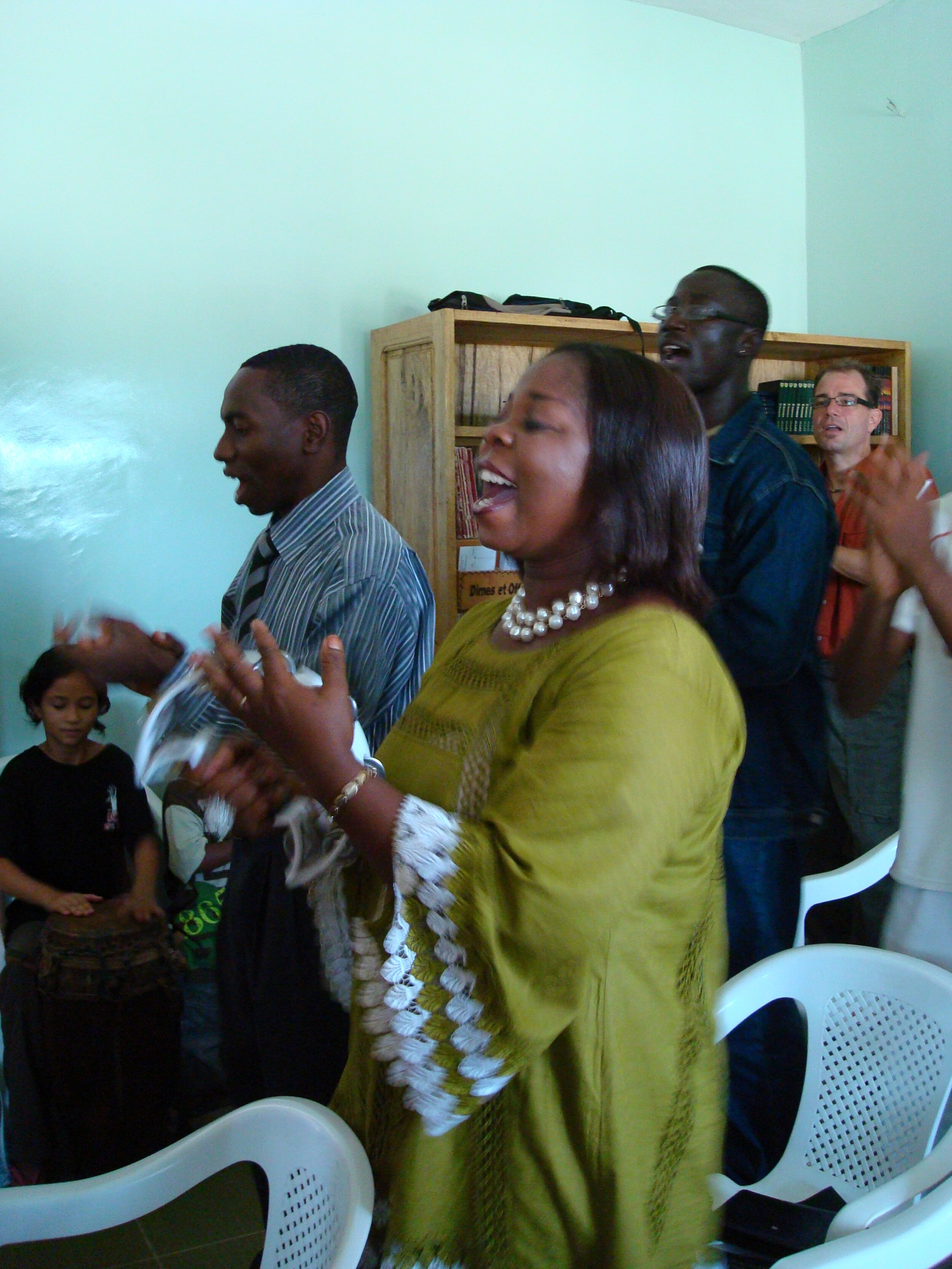 My photo: Esther, worship in Saint Louis, Senegal, West Africa, 2008