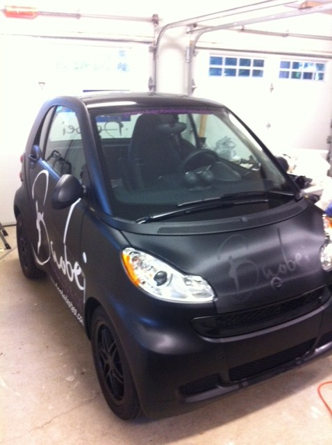 Carbon Fibre Hood + Cut Vinyl Logo & with Matte Black Car Wrap