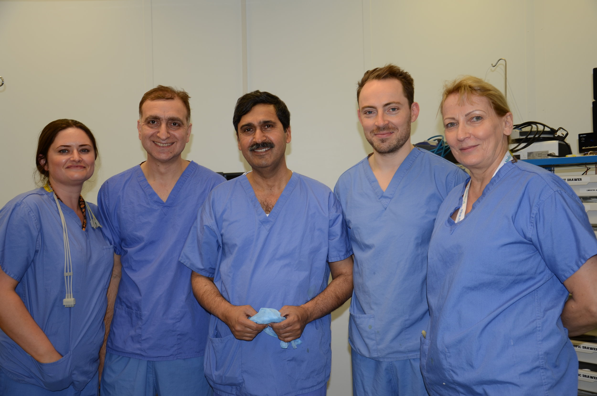 (left to right) - Michelle, Dr Aseem Tufchi,Mr Riaz,Mr Will Holmes, Annette Middleton