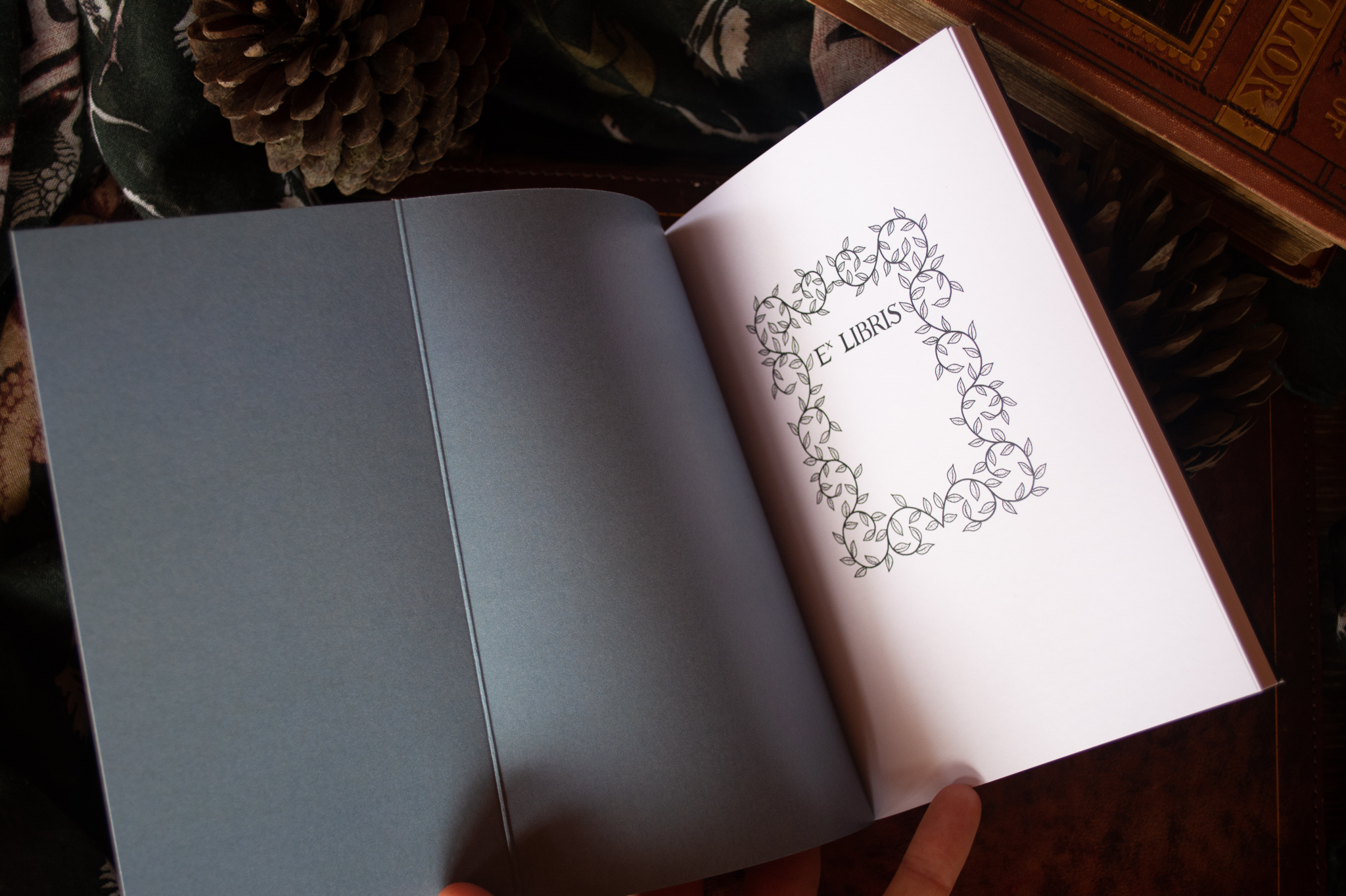 The notebooks had French flaps, 'endpapers' and a book plate.