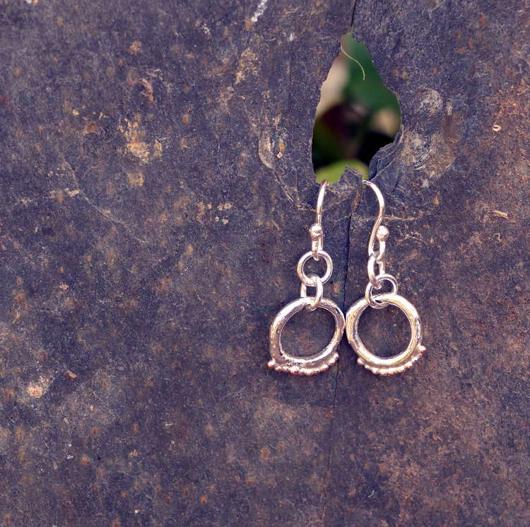 Silver Circle Granule Texture Earrings £30