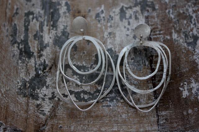Silver Multi Hammered Hoop Earrings - Large £70