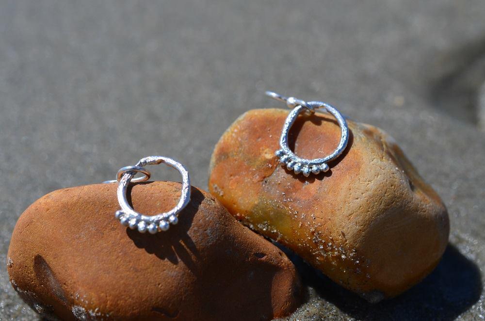 Silver Rustic Granule Hollow Earrings £22.50