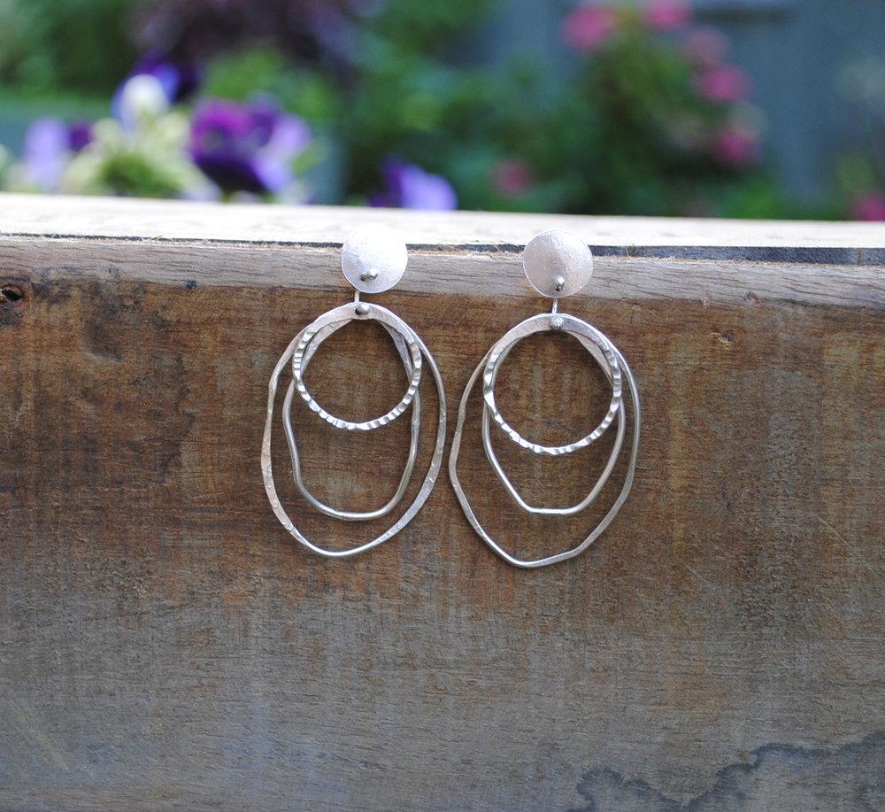 Silver Three Hoop Textured Earrings £60
