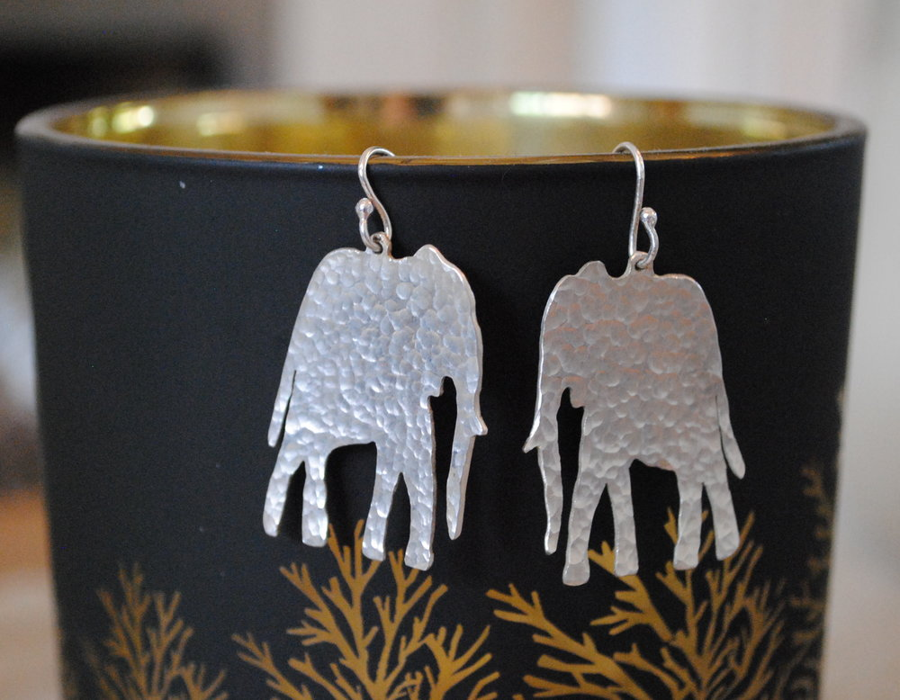 Silver Hammered Elephant Earrings £35-£40
