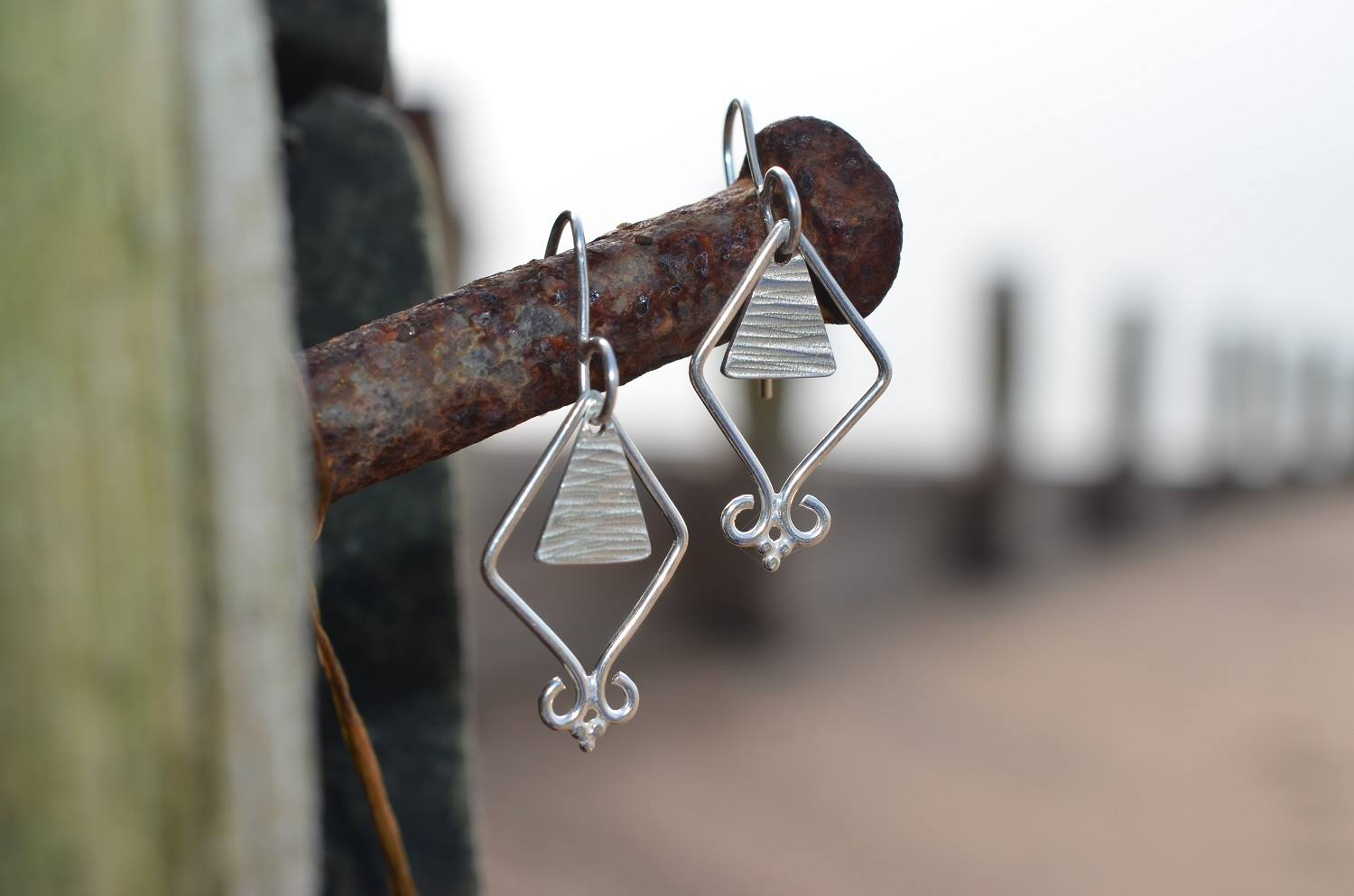 Silver Line Textured Triangle Earrings £60.
