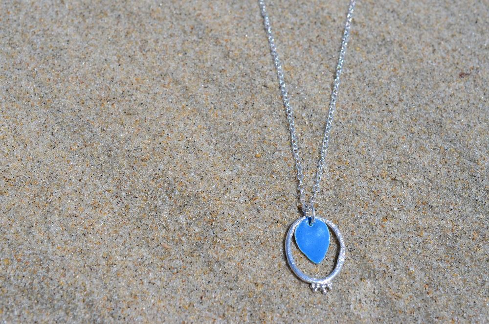 Turquoise Blue Enamel and Textured Granule Silver Pendant £44