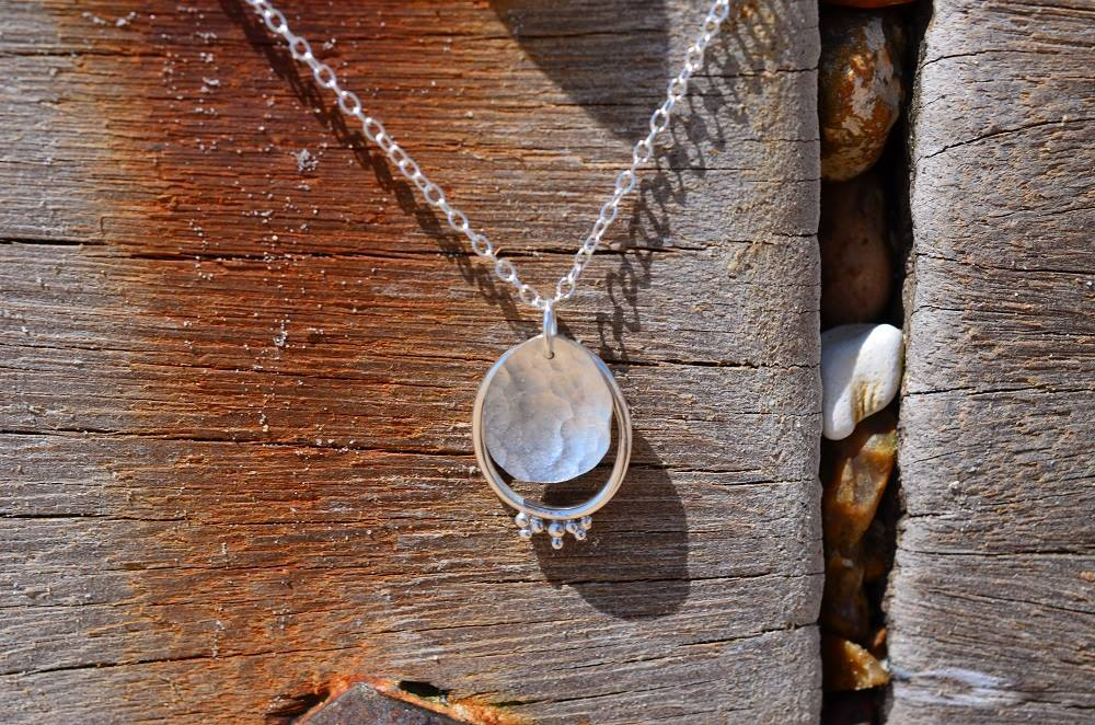 Silver Hammer Textured Granule Pendant £35