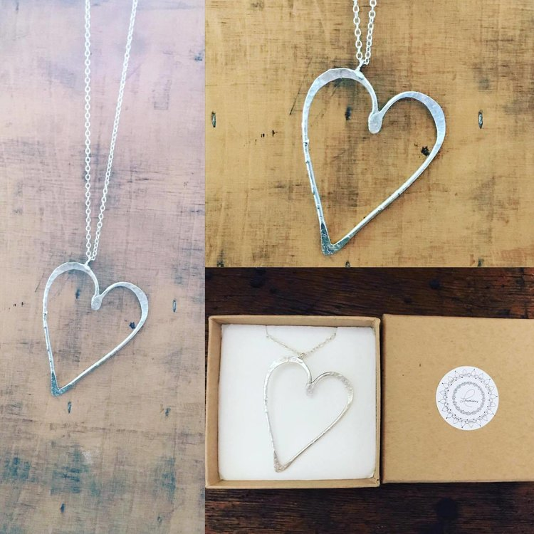 Silver Long Textured Heart Pendant £50 (Sold)