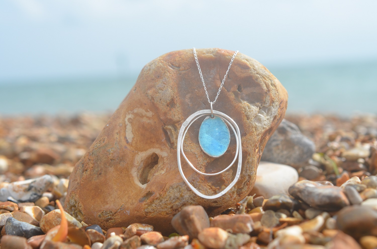 White and Blue Enamel and Silver Multi Hoop Pendant £80.
