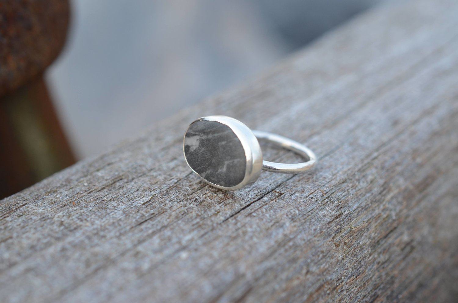 Silver and Grey Pebble Set Ring £90. SOLD