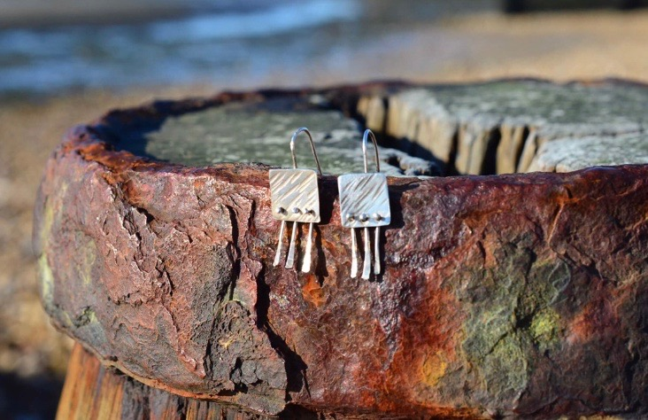 Silver Riveted Earrings £30
