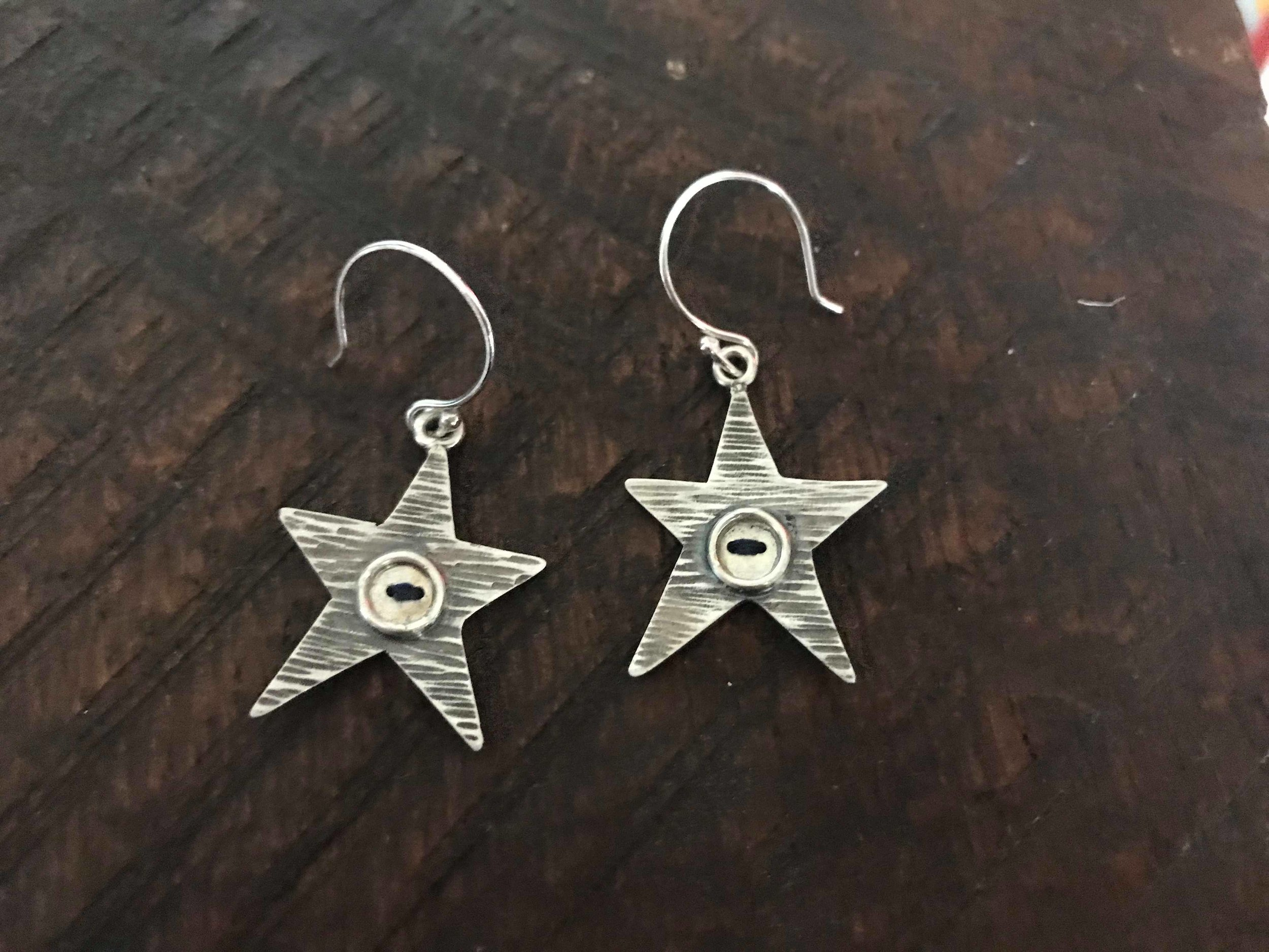 Eco Silver Star, Button and Thread Earrings £40+
