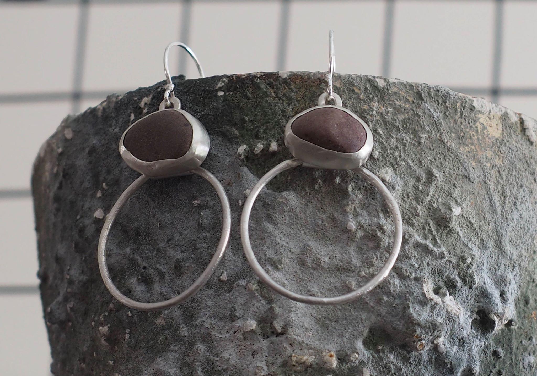 Silver and Pebble Drop Hoop Earrings £150.