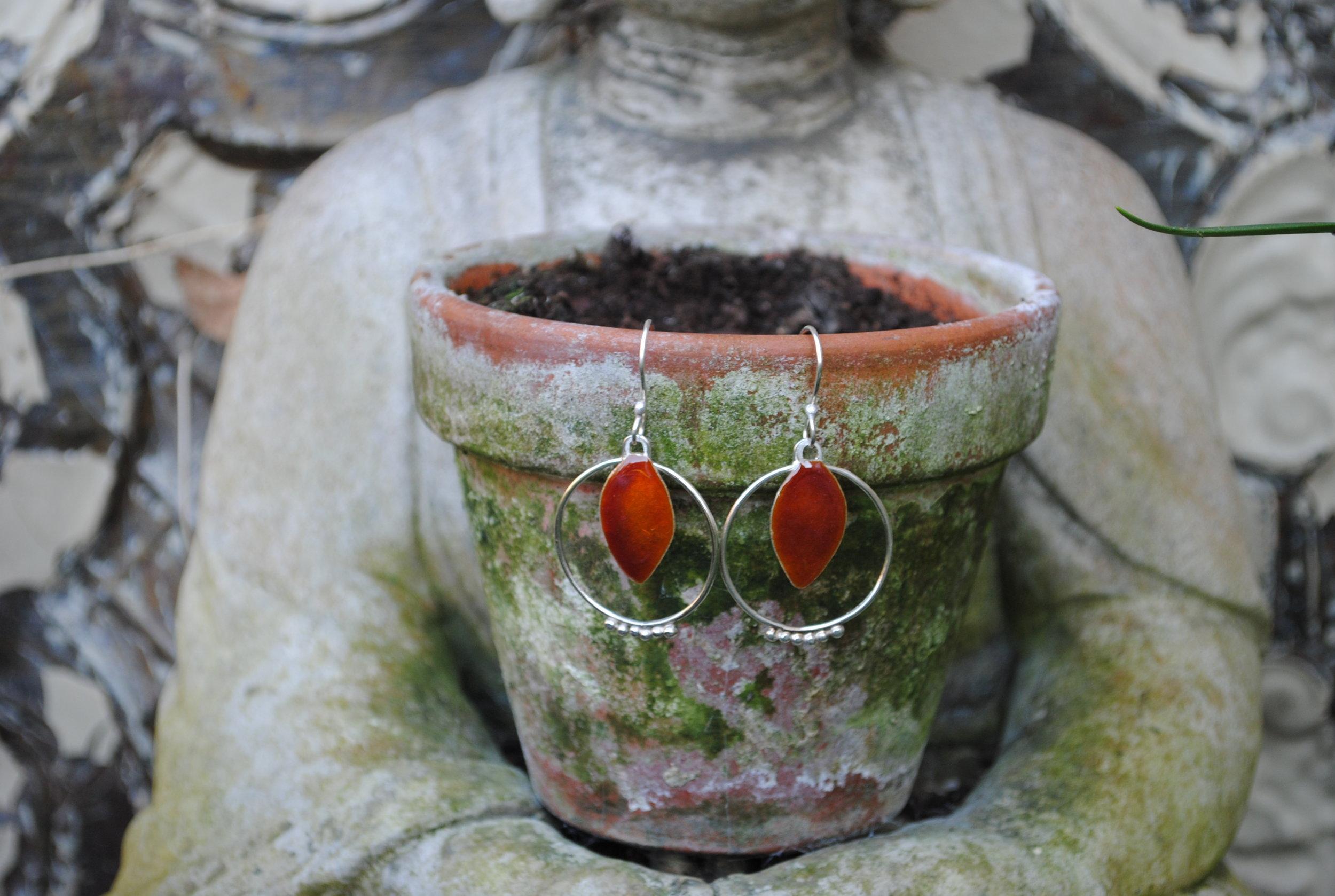 Burn Orange Enamel and Silver Earrings £85.
