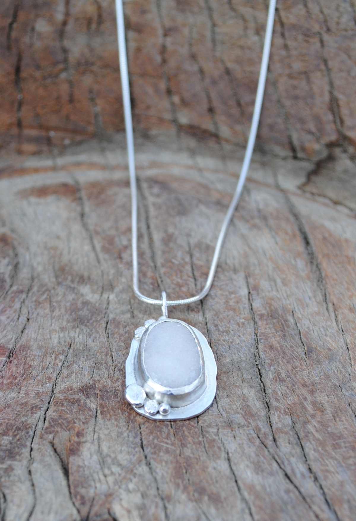 White Pebble and Silver Pendant £80