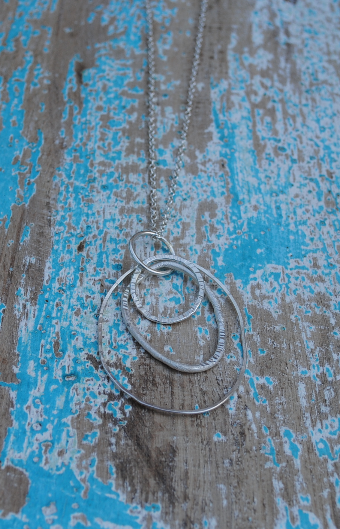 "Multi Hoop Textured Pendant £80 - (Available on 24-28"" Chain)"