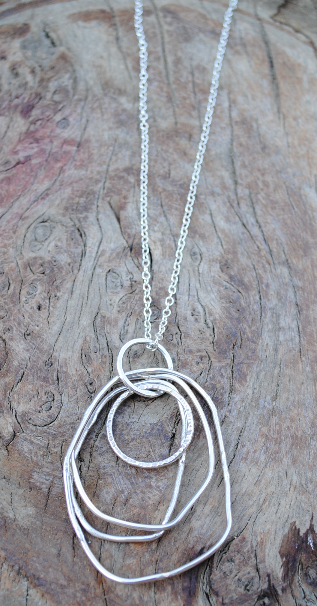 "Multi Hoop Textured Pendant £90 - (Available on 24-28"" Chain)"