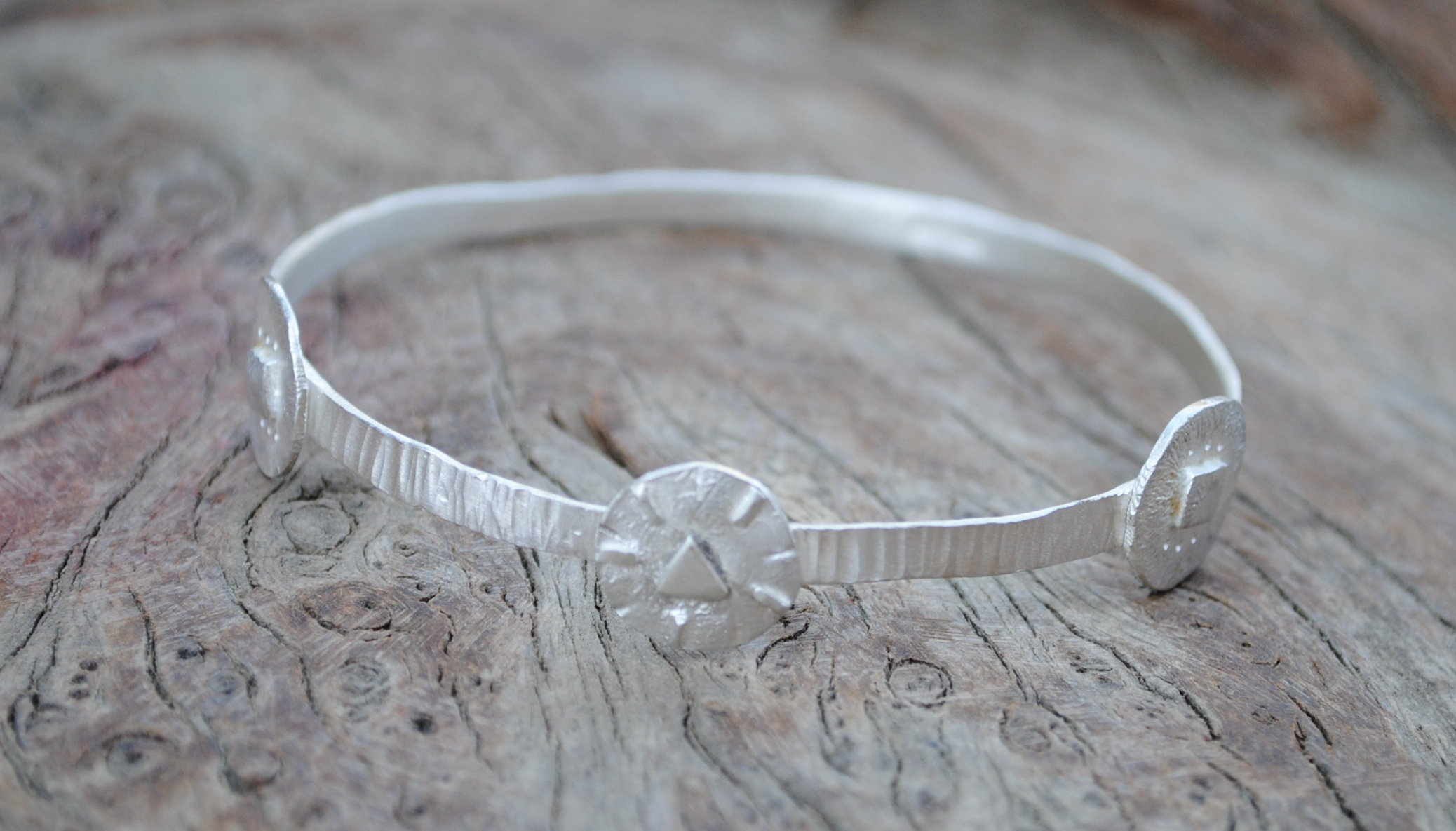 Fused Circles and Hammered Sheet Bangle £140.