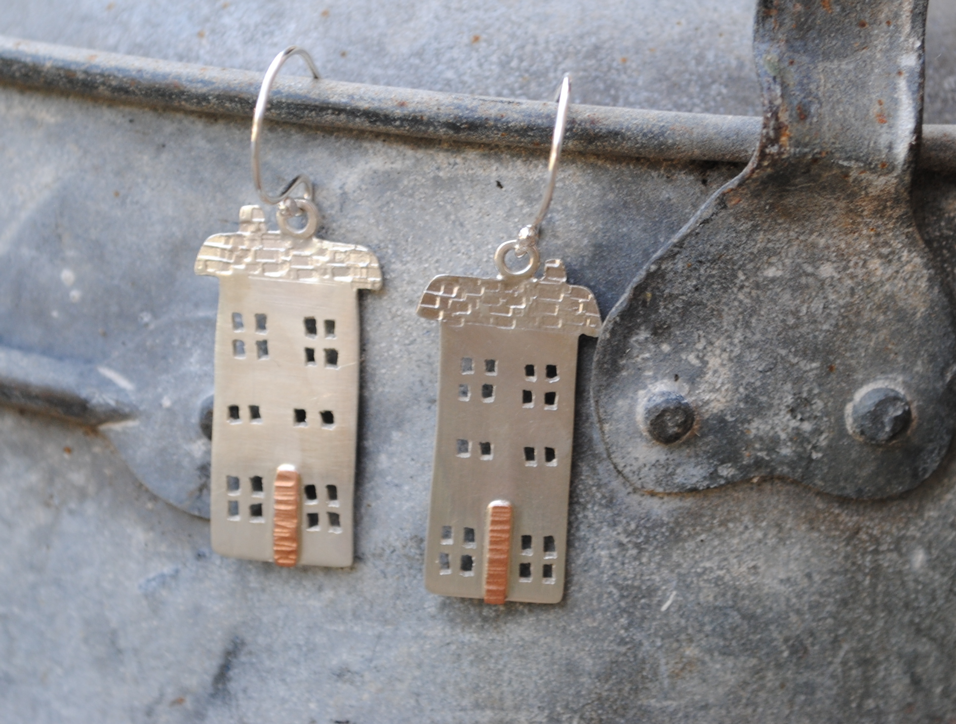 Recycled Sterling Silver Town House Earrings with Copper Doors. £70.