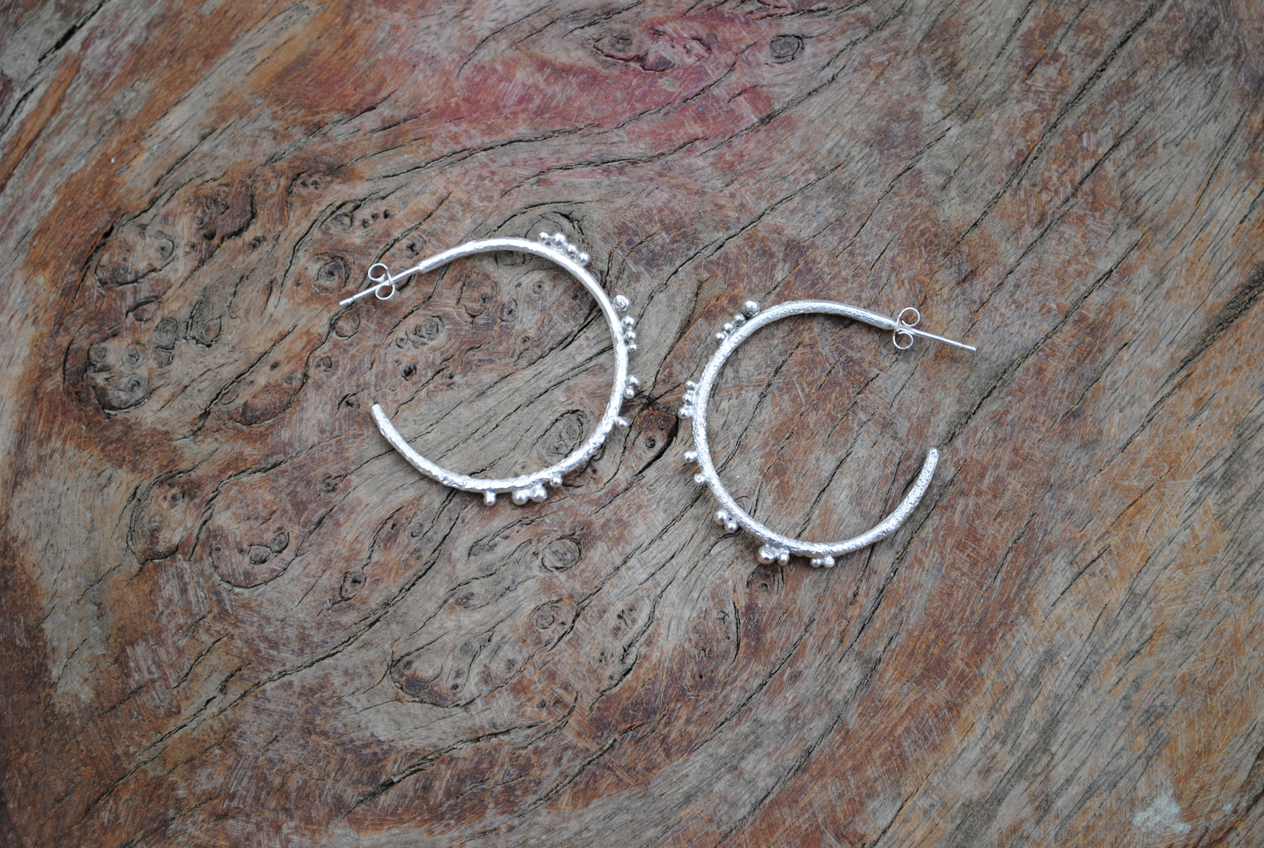 Recycled Sterling Silver Textured Hoops with Granules. £45.