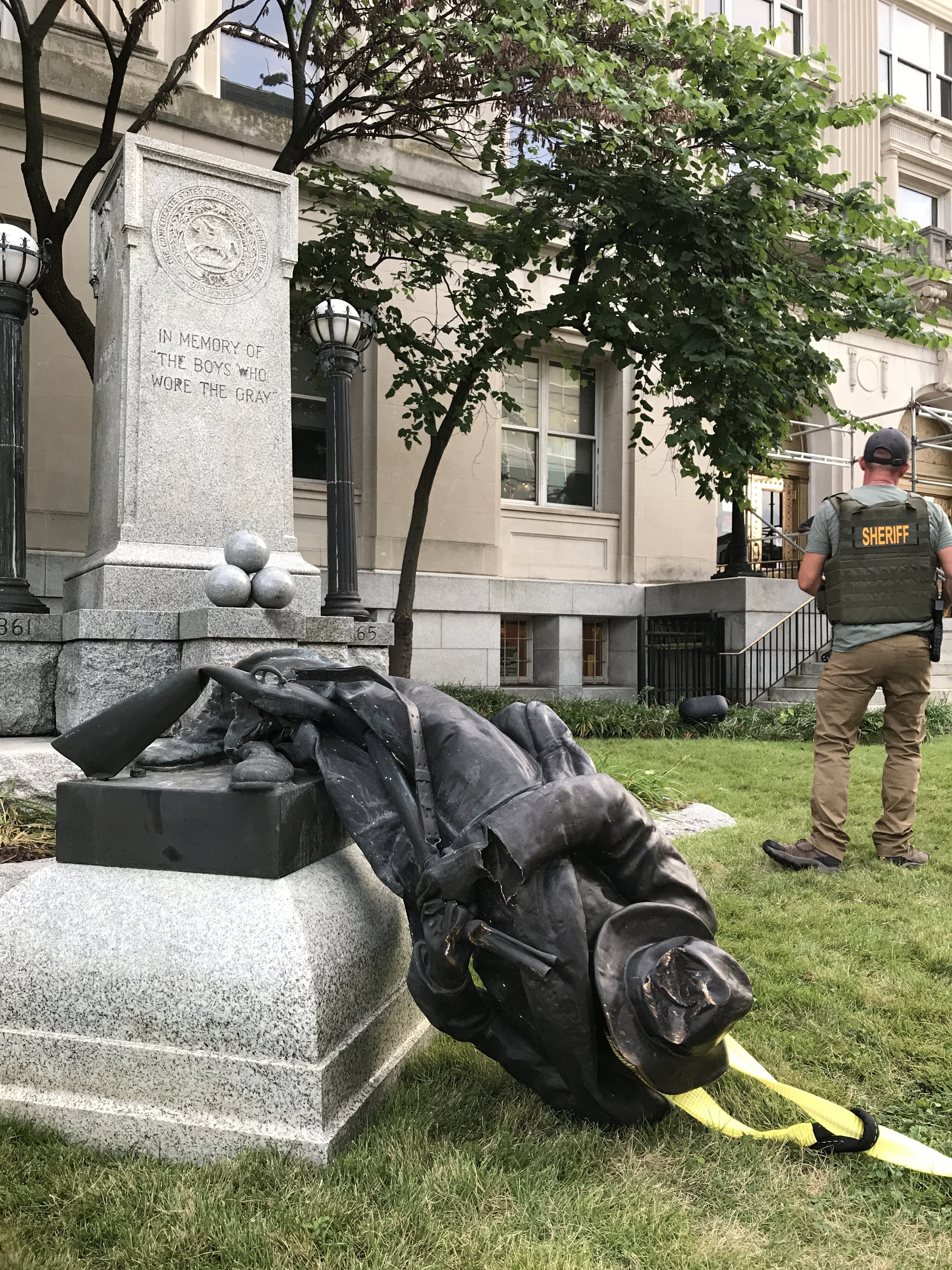 Days after clashes in Charlottesville, Va., protesters toppled a statue of a Confederate soldier that had stood in front of the old Durham County Courthouse in North Carolina for nearly a century.   Image by Kate Medley/Reuters
