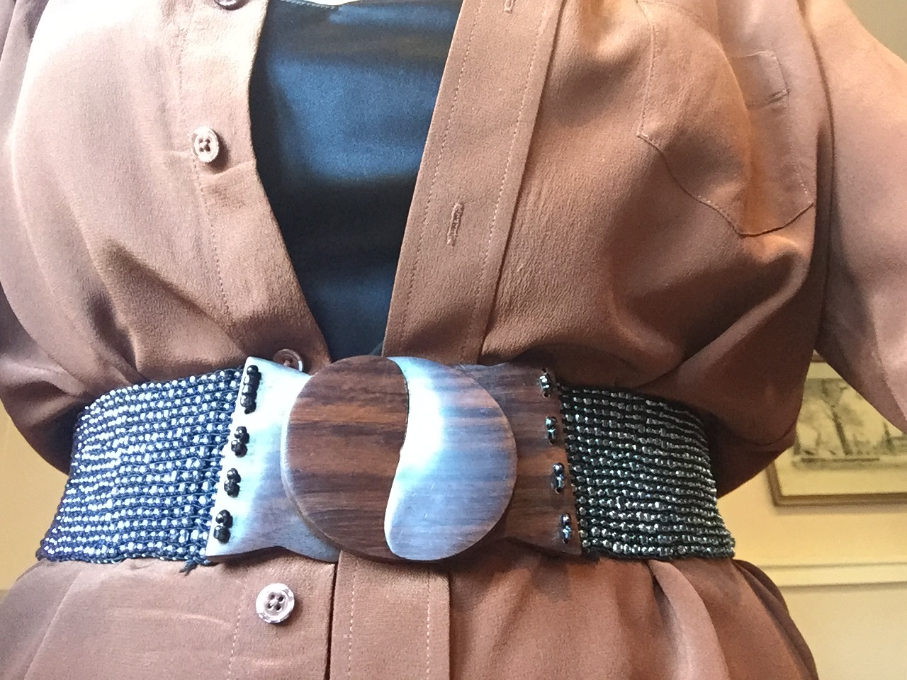 """Here is another look for a not very defined waist, i.e. a wide-ish belt over a loose, open silk shirt. (The bottom half needs to be simple trousers or a straight skirt for this to work)  Finally, if the belt you are considering has a metal buckle, go for gold colour if you are a """"warm"""" and silver if you are a """"cool"""". If you are not sure which you are why not checkout the colour workshop on Saturday 14th January in Hampton or consider a one to one colour analysis? More details on www.richmondpersonal-style.com and richmond personal style facebook page."""