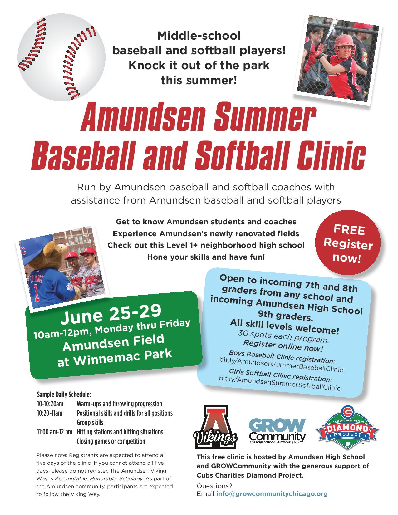 Amudsen Summer Baseball and Softball Clinic