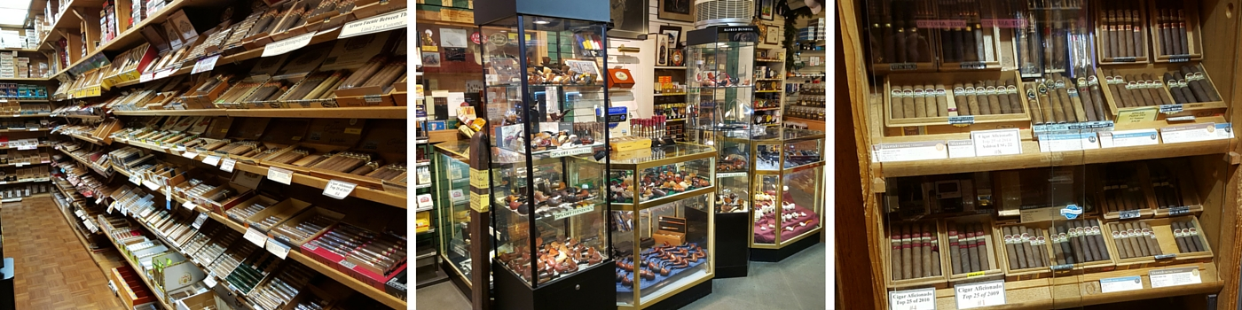 collection of cigars, ashtrays and other tobacco in TLC Shop