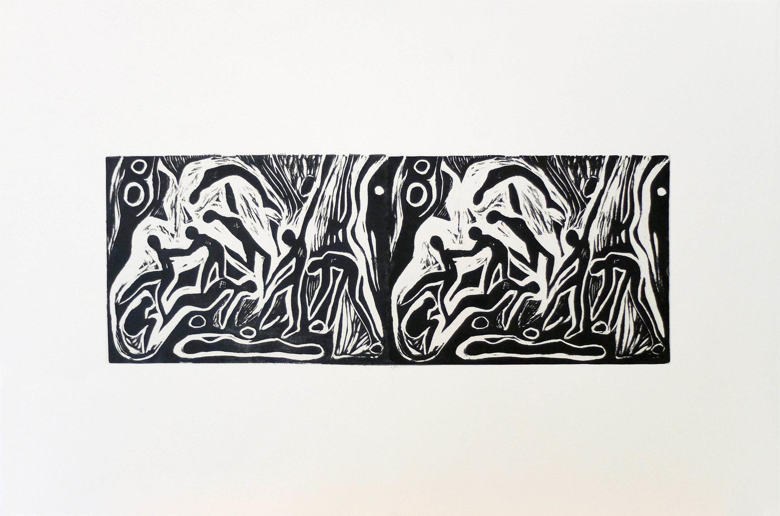Revealed Entities II 15' x 22'' Linocut