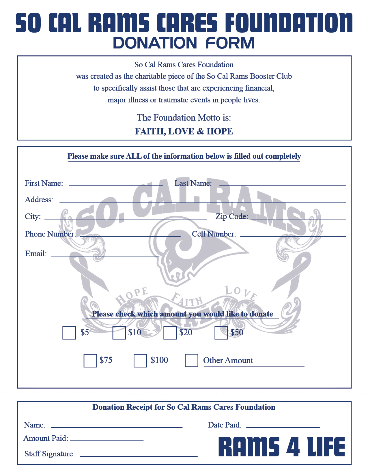 Download our So Cal Rams Cares  Donation  form for print.