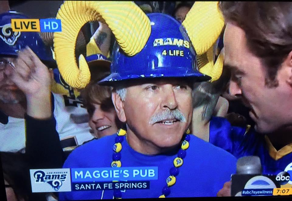 "ABC's Ch.7 TV Reporter,  Elex Michealson  interviewing So Cal Rams Booster Staff Member  Joe ""Silver Fox"" Ramirez  (2016)"