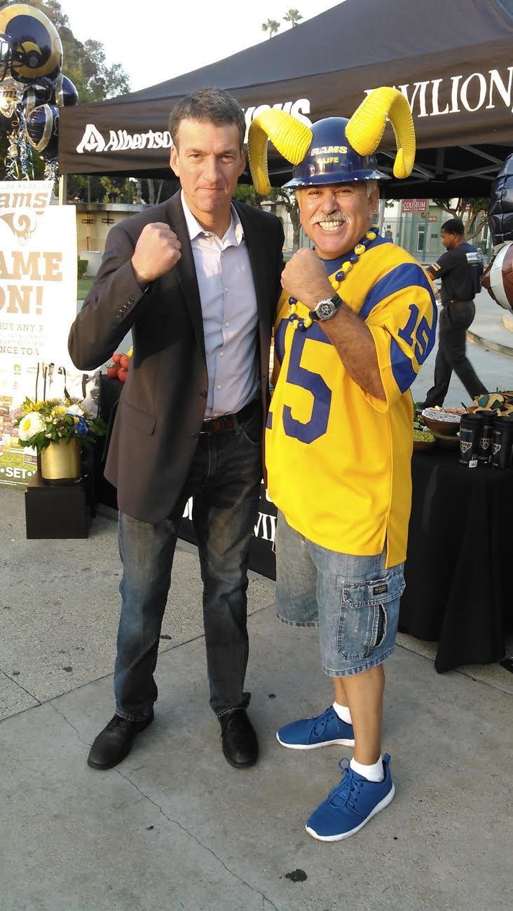 "Staff Member  Joe ""Silver Fox"" Ramirez  with KTLA 5 News Reporter  Eric Spillman . (2016)"