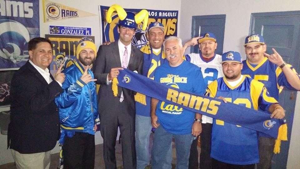 ABC's Ch.7 TV Reporter,  Elex Michealson  taking a group picture with some Staff Members of the So Cal Rams Booster Club (2015)