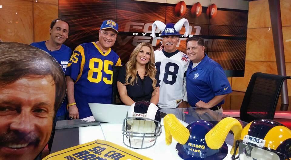 "Staff Member  Joe ""Silver Fox"" Ramirez  with Fox Ch.11 Sports Reporter  Liz Habib  on FOX Overtime. (2015)"