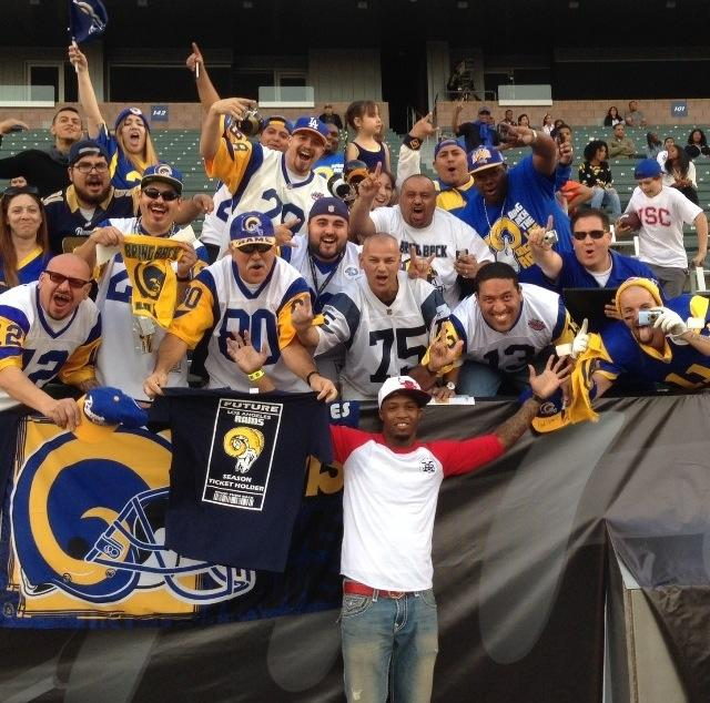 Staff Members of the So Cal Rams Booster Club, were representing at the NFLPA game at the Home Depot Center in Carson, CA with  Tavon Austin.  (2014)