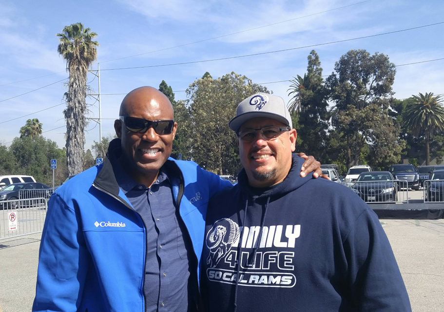 Club President  Ralph Valdez  with KTLA-Channel 5 Sports Reporter  Derrin Holton.  (2015)