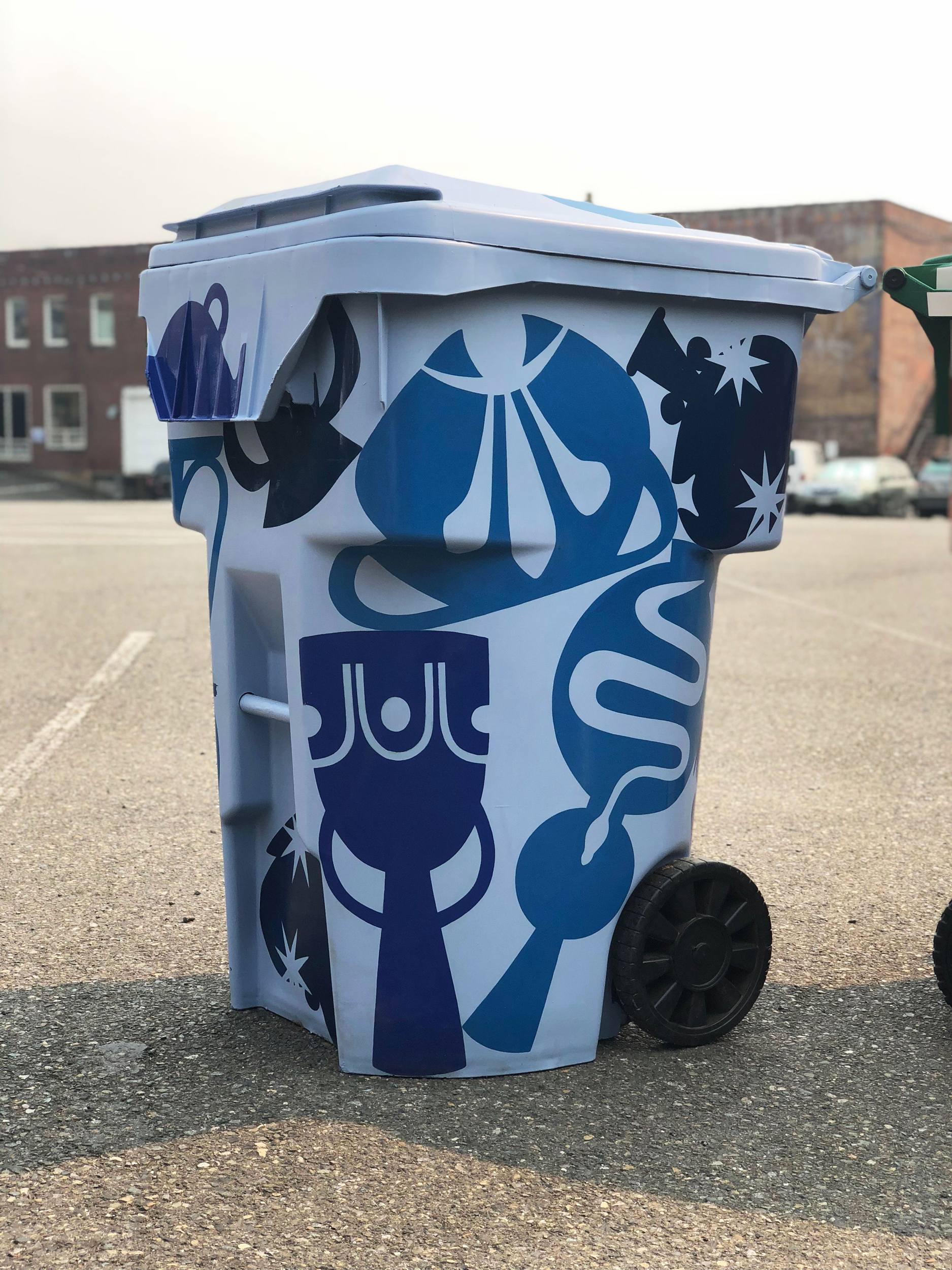 Seattle Public Utilities recycling bin artist pilot program design, partnership with Urban Artworks.