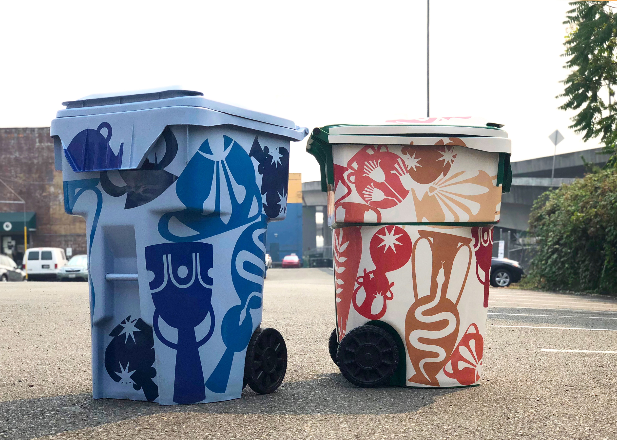 Seattle Public Utilities recycling and compost bins artist pilot program design, partnership with Urban Artworks.