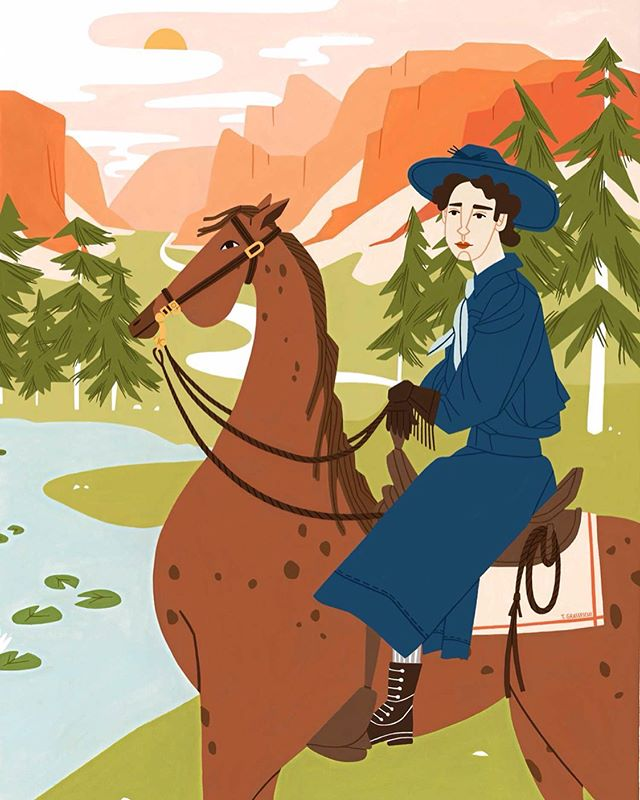 In 1918 Clare Marie Hodges became the first, paid woman park ranger at Yosemite National Park. October 1st was Yosemite National Park's birthday. While it would have been far more ideal to post this then, life sure got in the way. I moped around about the need to wait an entire year to share this piece before realizing that I get to make up my own posting rules. So, this piece is rolling in a little late but with the same gusto-something tells me Clare would approve.  Clare held it down as the only commissioned female park ranger for 30 years. She had all the same responsibilities as her male colleagues with one notable exception- she refused to carry a gun while out on patrol (a women after my own heart). Thank you Clare for opening doors for women everywhere and thank you Ruby for writing about it. Piece for @littlebigfoot A Girl's Guide to the Wild.
