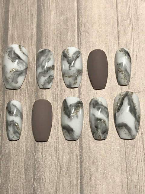 Etsy   Marble and Matte Gray Press On Nails;   $15+