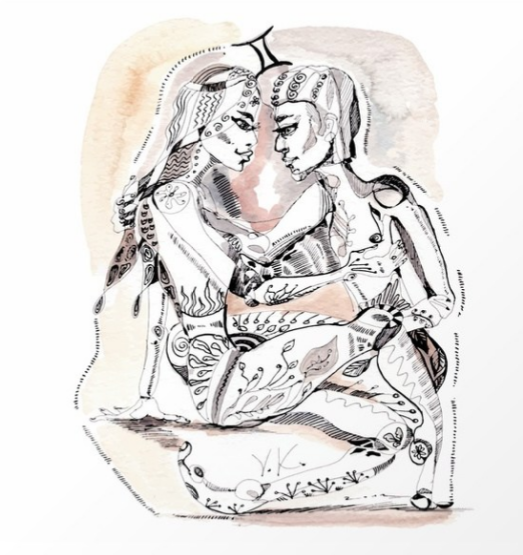 A couple as a sign Gemini Ink and aquarelle by   VanyFair