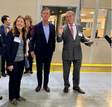 (l to r) Eversource Senior Vice President and Chief Customer Officer Penni Conner, Governor Ned Lamont and North American President of Pietro Rosa Clive Cunliffe toured the Farmington, Conn. manufacturing facility and discussed the organization's commitment to energy efficiency.
